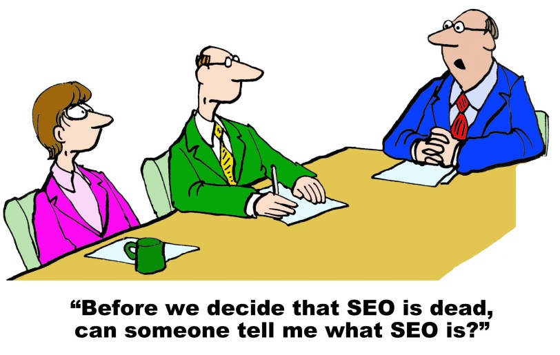 Business or technology cartoon showing a meeting and manager who asks, 'before we decide that SEO is dead, can someone tell me what SEO is?'.